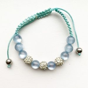 "Blue & diamond ""disco ball"" shamballa bracelet"